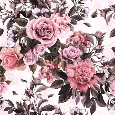 Adesivo Sem costura padrão floral com rosas e peônias em fundo aquarela.