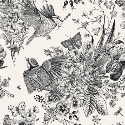 Adesivo Sem costura padrão floral. Peitos, flores, borboletas. Ilustração botânica vintage de vetor. Preto e branco