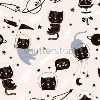 Adesivo Sem costura padrão infantil com gatos bonitos astronautas. Fundo criativo berçário. Perfeito para design de crianças, tecido, envolvimento, papel de parede, têxteis, vestuário