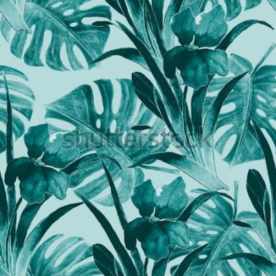 Adesivo Sem costura padrão tropical com flores de íris e folhas exóticas. Aquarela Pintura de mão.