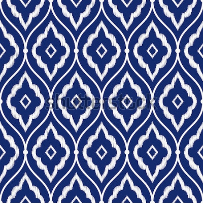 Adesivo Sem costura porcelana índigo azul e branco vintage persa ikat padrão vector