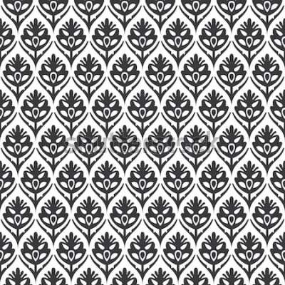Adesivo Sem costura preto e branco vintage floral ogee medieval padrão vector