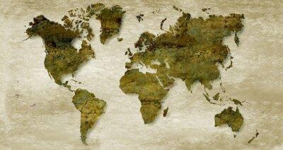Adesivo Sepia fundo mapa do mundo do vintage