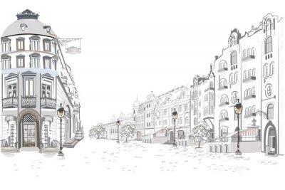 Adesivo Série de vistas de rua na cidade velha. Entregue o fundo arquitetónico tirado do vetor com construções históricas.