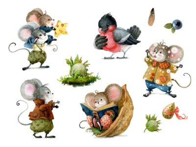 Adesivo Set of cute christmas mice in cartoon style. Watercolor christmas illustration