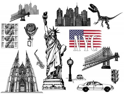 Adesivo Set of hand drawn sketch style New York themed isolated objects. Vector illustration.