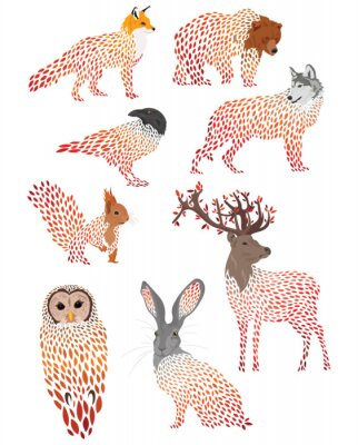 Adesivo Set of stylized animals. Collection of cartoon forest animals. Logos of wild animals. Illustration for children.