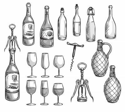 Adesivo Set of wine bottles, glasses and corkscrews