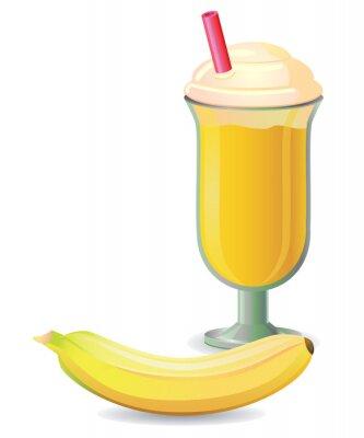 Adesivo Shake de banana com palha vector