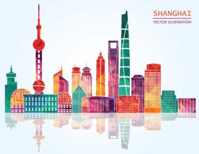 Adesivo Shanghai detalhado skylines. Ilustração do vetor
