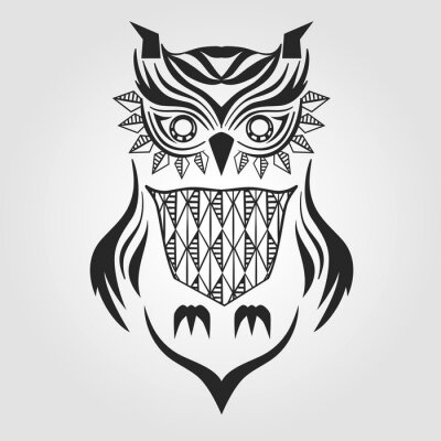 Adesivo Silhueta coruja. design gráfico. Ilustração do vetor.
