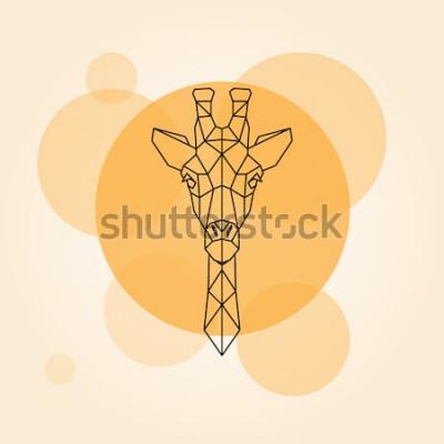 Adesivo Silhueta de linhas geométricas cabeça girafa isolada em um círculo laranja. Ilustração vetorial