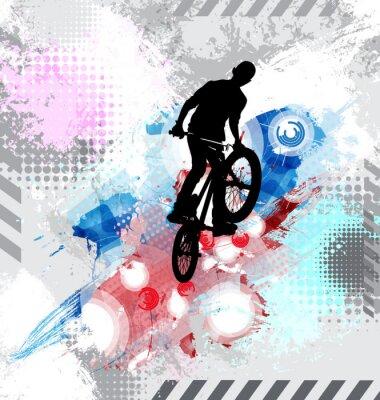 Adesivo Silhueta de um cavaleiro de bicicleta.
