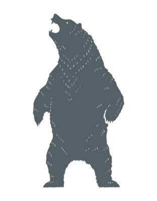 Adesivo Silhueta de urso rugindo