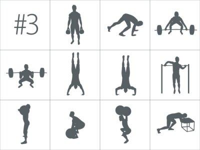 Adesivo Silhuetas de vetores de pessoas que fazem exercícios de fitness e crossfit