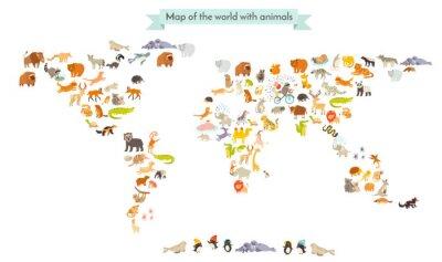 Adesivo Silhuetas do mapa do mundo do mamífero. Mapa do mundo dos animais. Isolado no fundo branco ilustração do vetor. Ilustração colorida dos desenhos animados para crianças e outros povos. Educação