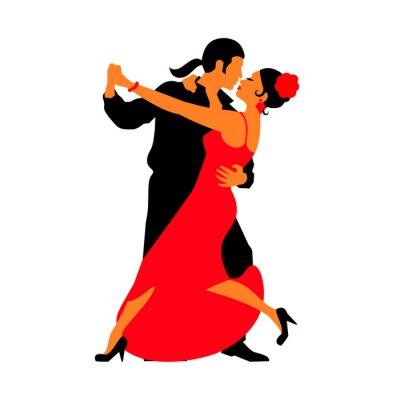 Adesivo Silhuetas dos pares de dança de salão. Danças Tango