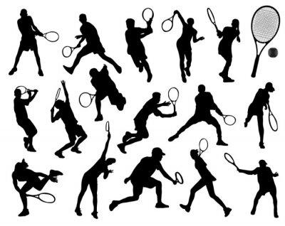 Adesivo Silhuetas pretas de tenista, vetor
