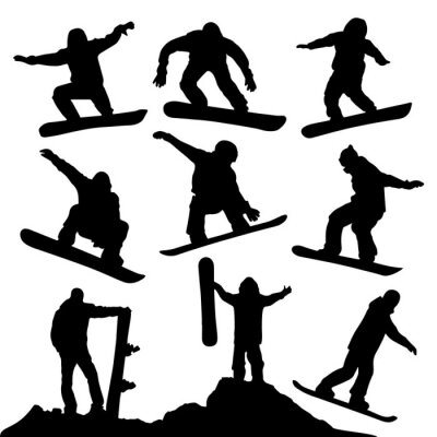 Adesivo Silhuetas snowboard