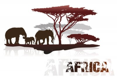 Adesivo Silueta, África, árvores, elefantes