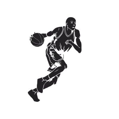 Adesivo Silueta, basquetebol, jogador, driblar, bola