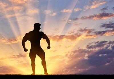 Adesivo Silueta, bodybuilder, poses, pôr do sol
