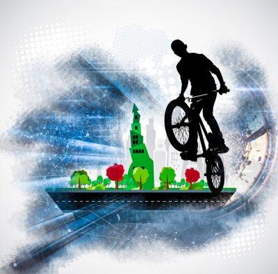 Adesivo Silueta, de, um, cavaleiro bicicleta