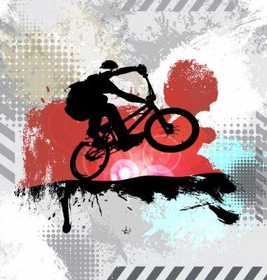 Adesivo Silueta, de, um, cavaleiro bicicleta, vetorial