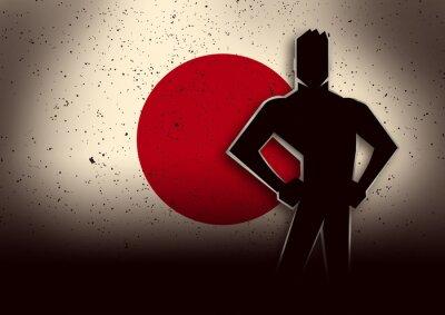 Adesivo Silueta, ilustração, homem, ficar, frente, japão, bandeira