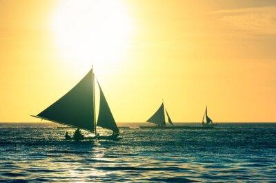 Adesivo Silueta, típico, velejando, Barcos, pôr do sol, Boracay, ilha, Filipinas