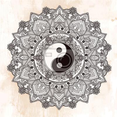 Adesivo Símbolo da mandala de Yin e de Yang.