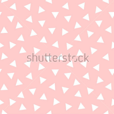 Adesivo Simple Triangle Seamless Pattern with Pink Background, Vector illustration