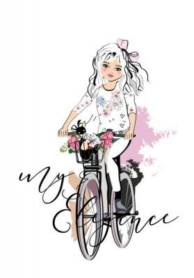 Adesivo Sketch of a cute fashion girl with a dog riding the bicycle. Hand drawn vector illustration.