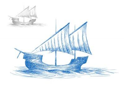 Adesivo Sketch of old medieval sailing ship