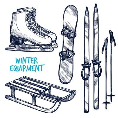 Adesivo Sketch Winter Sport Objects