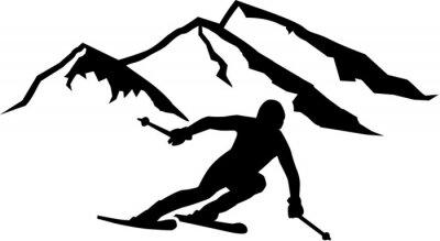 Adesivo Ski Run montanhas de fundo