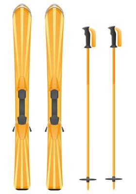 Adesivo skis ilustração montanha vector