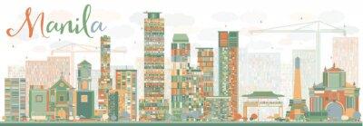 Adesivo Skyline abstrata de Manila com edifícios da cor.