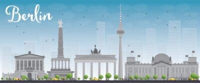 Adesivo Skyline de Berlim com prédio cinza e céu azul.