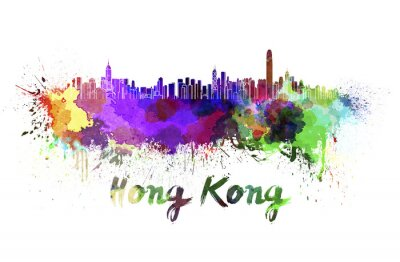 Adesivo Skyline de Hong Kong em aquarela