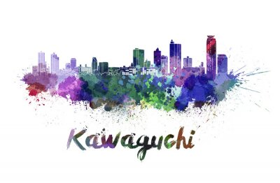 Adesivo Skyline de Kawaguchi na aguarela