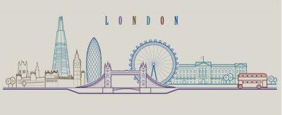 Adesivo Skyline de Londres. Vetor de fundo. Delinear a ilustração gráfica.