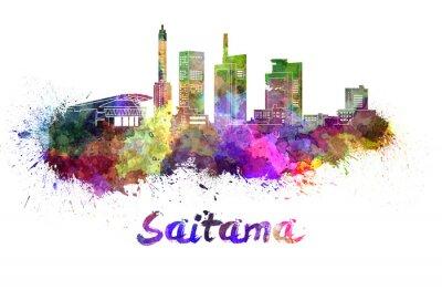 Adesivo Skyline de Saitama na aguarela