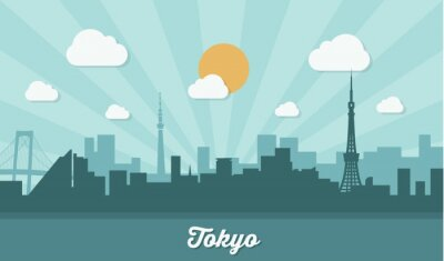 Adesivo Skyline de Tóquio - design plano