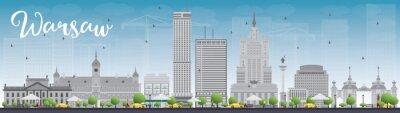 Adesivo Skyline de Varsóvia com construções cinzentas e céu azul. Alguns elementos têm um modo de transparência diferente do normal