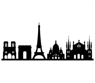 Adesivo Skyline parigi su sfondo bianco