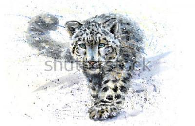 Adesivo Snow leopard animals watercolor predator wildlife