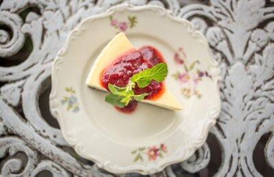 Adesivo Sobremesa - Cheesecake com Berries Molho e Green Mint, vista superior