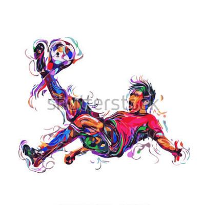 Adesivo soccer player colorful kicks / art