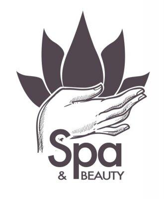 Adesivo Spa e beleza, procedimentos cosméticos, aromaterapia no vetor de salão.